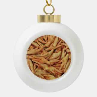 Raw Chicken Feet Ceramic Ball Christmas Ornament