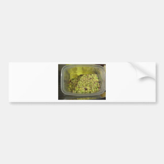 Raw chopped pistachios in a plastic food pan bumper sticker
