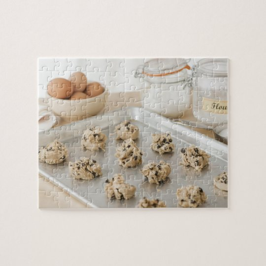 Raw cookies on baking tray jigsaw puzzle
