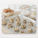 Raw cookies on baking tray mouse pad