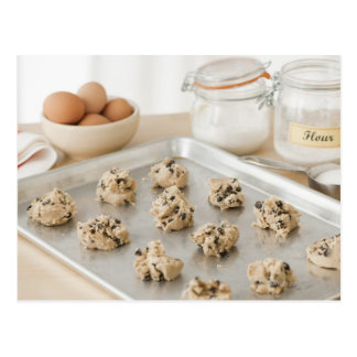 Raw cookies on baking tray postcard
