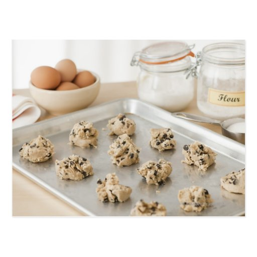 Raw cookies on baking tray post cards