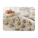 Raw cookies on baking tray rectangular photo magnet
