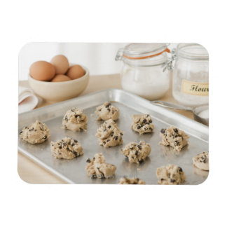 Raw cookies on baking tray rectangular magnets