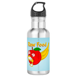 Raw Foods Food Fight Apple Verses Banana 18oz Water Bottle