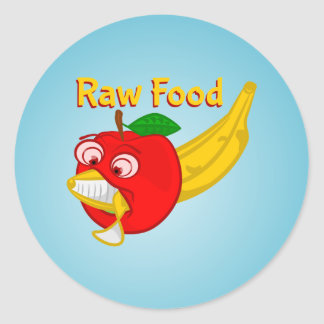 Raw Foods Food Fight Apple Verses Banana Classic Round Sticker