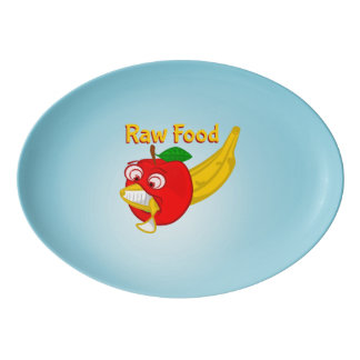 Raw Foods Food Fight Apple Verses Banana Porcelain Serving Platter