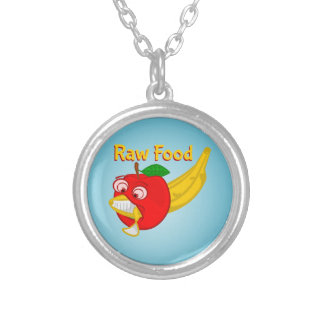 Raw Foods Food Fight Apple Verses Banana Silver Plated Necklace