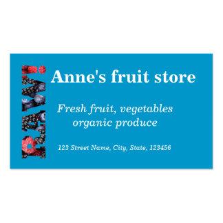 Raw foods / vegetable / fruit shop business card