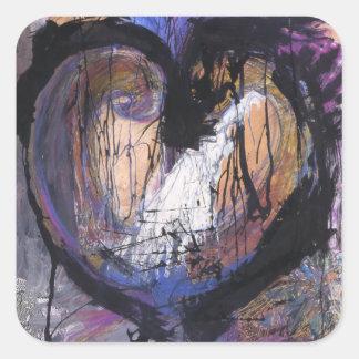 Raw Heart Square Sticker