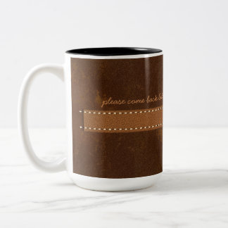 Raw Hide Brown Leather with Stitched Strap Funny Two-Tone Coffee Mug