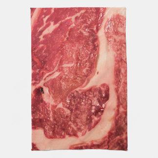 Raw Meat Ribeye Steak Texture Kitchen Towel