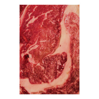 Raw Meat Ribeye Steak Texture Poster