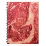 Raw Meat Ribeye Steak Texture Spiral Notebooks