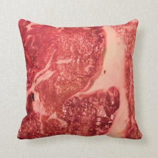 Raw Meat Ribeye Steak Texture Throw Pillow