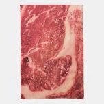 Raw Meat Ribeye Steak Texture Towel
