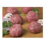 Raw meatballs on a cutting board post card