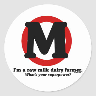 Raw Milk Dairy Farmer Classic Round Sticker
