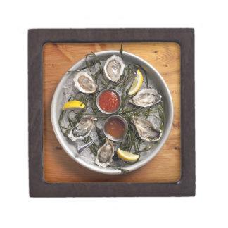 Raw oysters arranged premium trinket boxes