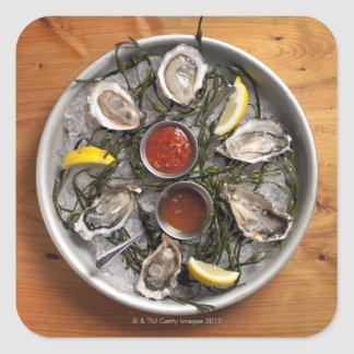 Raw oysters arranged square sticker