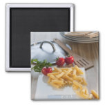 Raw pasta on weight scale 2 inch square magnet