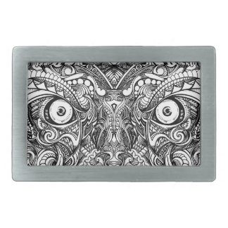 Raw Rough Mean Angry Evil Eyes Sharp Detailed Hand Rectangular Belt Buckle