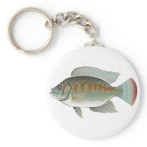 Raw Seafood Tilapia Fish Vector Keychain