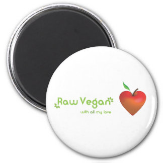 Raw vegan with all my love (red apple heart) 2 inch round magnet