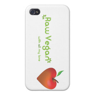 Raw vegan with all my love (red apple heart) cover for iPhone 4
