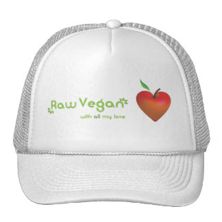 Raw vegan with all my love (red apple heart) trucker hat