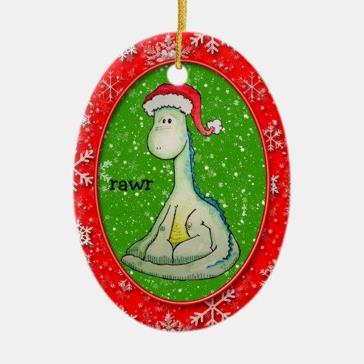 RAWR! Christmas Dinosaur Double-Sided Oval Ceramic Christmas Ornament