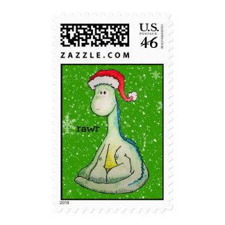 RAWR! Christmas Dinosaur Stamp