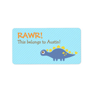 Rawr, Cute Blue Stegosaurus dinosaur For Kids Label