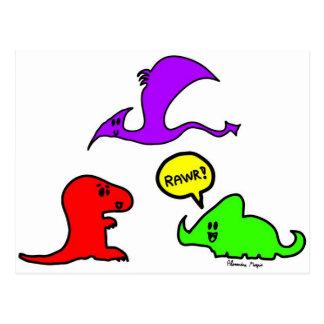 Rawr! Cute Dinosaurs Chibi Babies Dinos Postcard