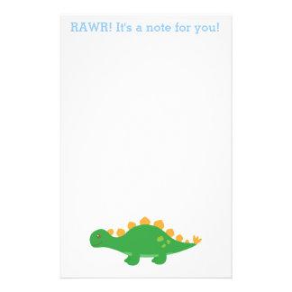 Rawr, Cute Green Stegosaurus Dinosaur Stationery