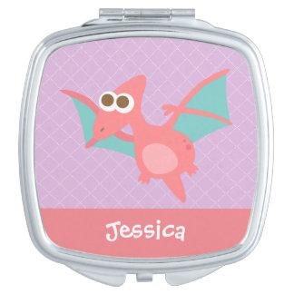 Rawr, Cute Pink Pterodactyl dinosaur For Kids Makeup Mirrors