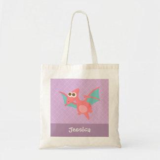 Rawr, Cute Pink Pterodactyl dinosaur For Kids Tote Bag