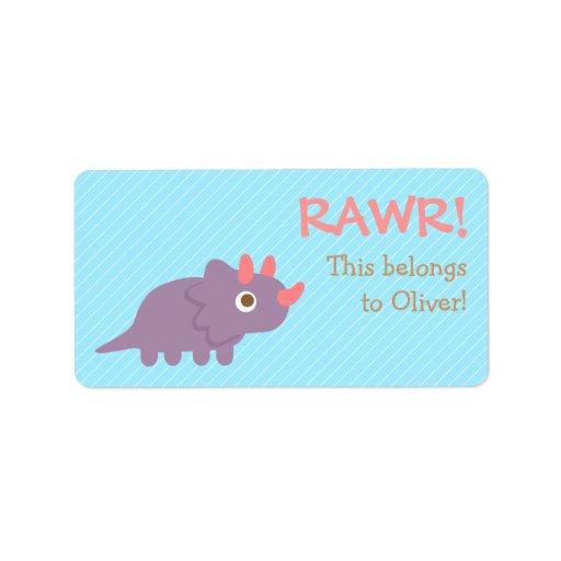 Rawr, Cute Purple Triceratops dinosaur For Kids Address Label