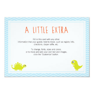 "Rawr! Dino Baby Shower Insert Cards 3.5"" X 5"" Invitation Card"