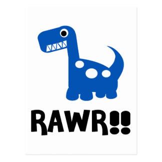 Rawr Dino Blue Post Cards