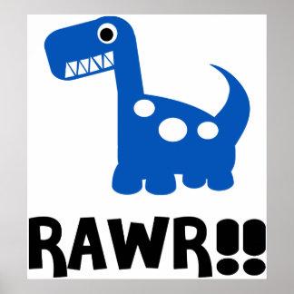 Rawr Dino Blue Poster