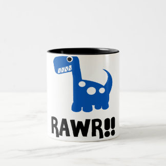 Rawr Dino Blue Two-Tone Coffee Mug