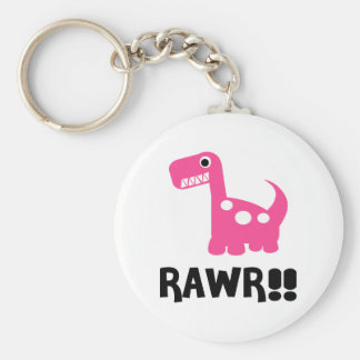 Rawr Dino Pink Basic Round Button Keychain