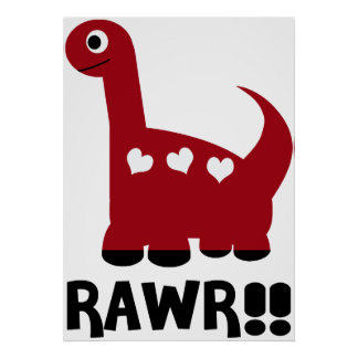 Rawr Dino Red Poster