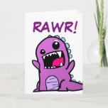 "Rawr! Dinosaur Happy Birthday Card<br><div class=""desc"">Nothing says ""Happy Birthday"" like an adorable dinosaur! This one shares a festive ""Rawr!"" with a on a loved one's special day. I made sure the dinosaur's colors would be good for a boy or a girl,  because I have a girl who loves dinosaurs.</div>"