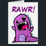 """Rawr! Dinosaur Happy Birthday Card<br><div class=""""desc"""">Nothing says &quot;Happy Birthday&quot; like an adorable dinosaur! This one shares a festive &quot;Rawr!&quot; with a on a loved one&#39;s special day. I made sure the dinosaur&#39;s colors would be good for a boy or a girl,  because I have a girl who loves dinosaurs.</div>"""
