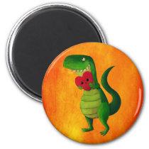 artsprojekt, dinosaur, rawr, t-rex, rawr means i love you, love, cute t-rex, valentines day, heart, tyrannosaurus rex, valentine, lovely dinosaur, illustration dinosaur, cute dino, cute dinosaur, Ímã com design gráfico personalizado