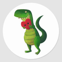 artsprojekt, dinosaur, rawr, t-rex, rawr means i love you, love, cute t-rex, valentines day, heart, tyrannosaurus rex, valentine, lovely dinosaur, illustration dinosaur, cute dino, cute dinosaur, Sticker with custom graphic design