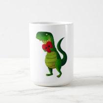 artsprojekt, dinosaur, rawr, t-rex, rawr means i love you, love, cute t-rex, valentines day, heart, tyrannosaurus rex, valentine, lovely dinosaur, illustration dinosaur, cute dino, cute dinosaur, Mug with custom graphic design