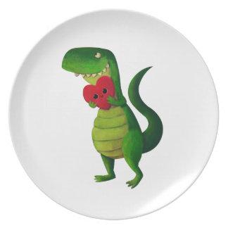RAWR Dinosaur Love Dinner Plate